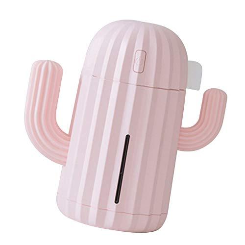 Mini Humidificador De Cactus, Filtro De Aire Silencioso Recargable Por USB, Difusor De Aire Con Luz Nocturna LED Para El Hogar, Yoga, Oficina, Spa (Rosado)