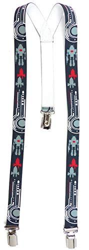 Evil Wear Hosentraeger Kinder blau Hosen-Träger Junge Mädchen ca 3 - 6 Jahre Child Suspender Robot Raketen Motiv (d.blau) 4442