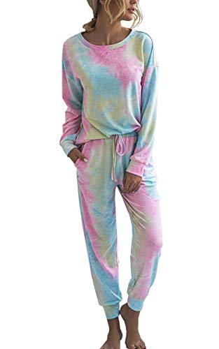 Spec4Y Pyjama Damen Zweiteilige Nachtwäsche Tie Dye Druck Langarm Oberteil Lang Hose Schlafanzug Loungewear mit Taschen 2035 Rosa Blaugrün X-Large