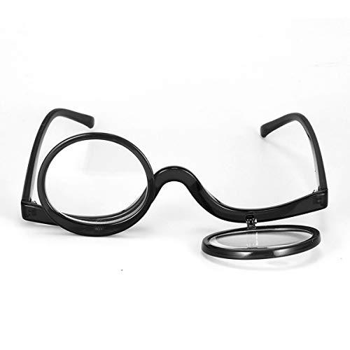 ECYC Make Up Brille Flip 3.0 Lesebrille Double Flip Lens Damen Kosmetik Presbyopie Brille, Schwarz, 3.0