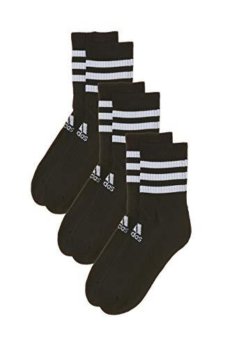 adidas Socken 3 Paar 3-Streifen Cushion Crew, Black/Black/Black, S, DZ9347