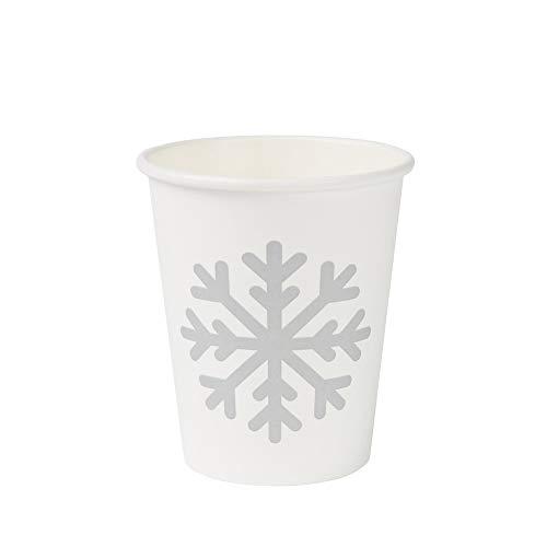 BIOZOYG Bio Gobelets Café jetable Motif d'hiver Flocon I 50 Gobelets Blancs 200 ML / 8 oz I Vaisselle jetable ecologique, compostable et biodégradable