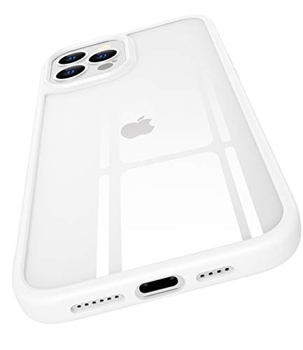 OCYCLONE Compatible for iPhone 12 Pro Max Case, [Clear Tempered Glass Back] Shockproof Thin Slim Crystal Clear Phone Cases with Soft Silicone Bumper for iPhone 12 Pro Max 6.7 inch 2020 - White