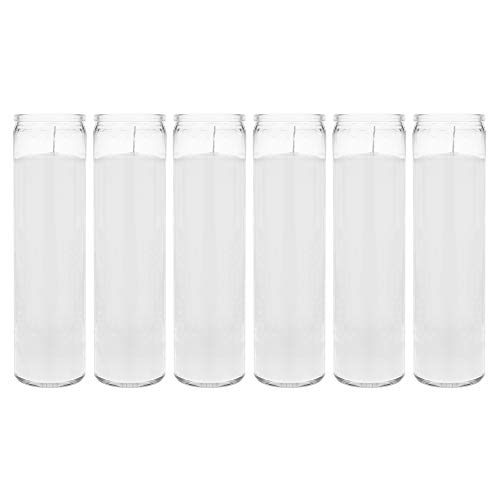 Mega Candles 6 pcs Unscented White 7 Day Devotional Prayer Glass Container Candle, Premium Wax Candles 2 Inch x 8 Inch, Great for Sanctuary, Vigils, Prayers, Blessing, Religious & More
