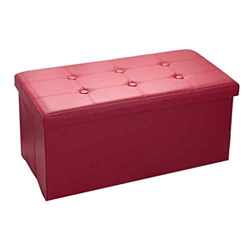 YCSD Rectángulo Plegable Otomana De Almacenamiento, Taburete De Cuero Sintético para Reposapiés,Cofre De Almacenamiento con Relleno De Esponja Altamente Elástico,76 X 38 X 38 Cm (Color : Red)