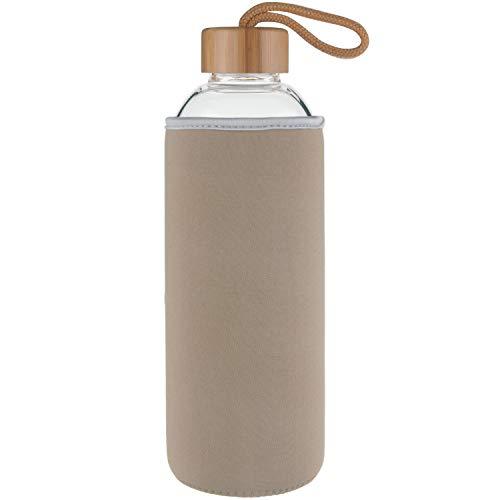 Ferexer Sports Trinkflasche Glas Wasserflasche mit Bambus Deckel 1 L / 1000 ml Gold