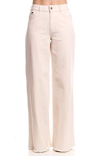 Calça jeans Kayla pantalona, Colcci, Feminino, Branco (Off Shell), 44