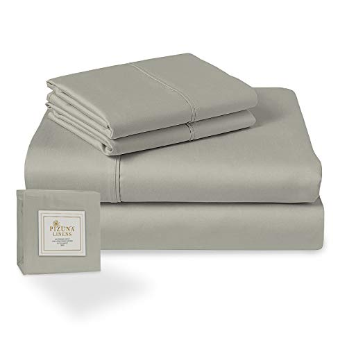 Pizuna 400 Thread Count Light Grey 6 Piece Queen Sheets Set Includes 2 Extra Pillow Cases, 100% Long Staple Cotton Soft Sateen Bed Sheets with Deep Pocket, Value Pack 6 pc Cotton Sheets Queen Gray