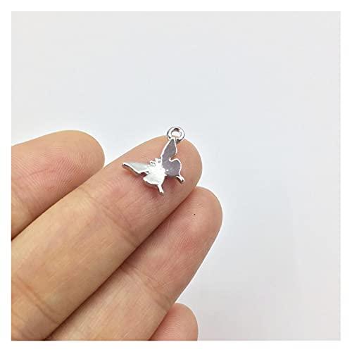 LPZW Bonita 20pcs 10mm Mariposa aleación de Zinc Mujeres encantos Collar, Pendiente Pulsera joyería Bricolaje Hecha a Mano 2 Colores (Metal Color : Rhodium Silver)