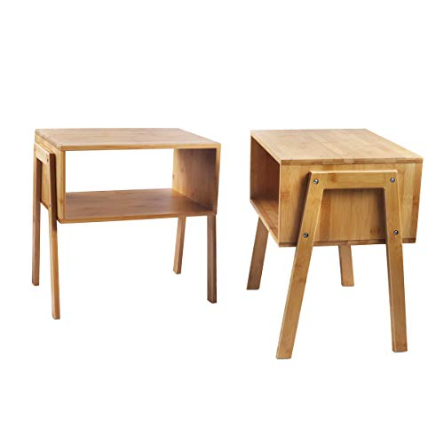 LASUAVY Bamboo Nightstand Stackable Side Table End Table Bedside Tables for Living Room/Bedroom/Nursery Room/Laundry Room/Study Room, Set of 2,Natural