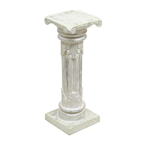 Oriental Galerie Säule Blumensäule Dekosäule Ständer Sockel Podest Blumenständer Holz Weiß Silber Silberwash 60 cm