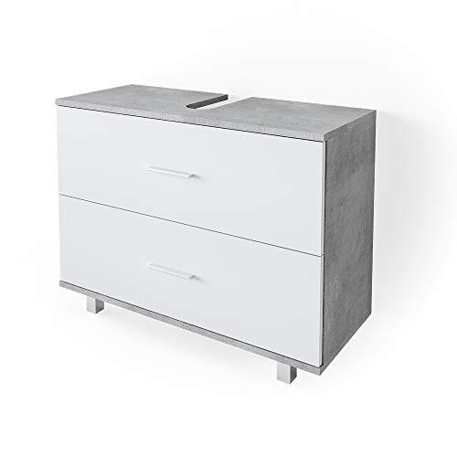 VICCO Waschbeckenunterschrank Ilias Schublade Unterschrank Badezimmer (Beton-Weiß)