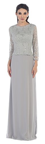 Mother of The Bride Chiffon Dress #1412 (3XLarge, Silver) (Apparel)