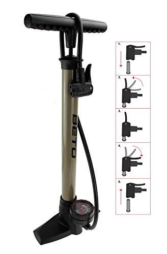 P4B | Fahrrad Luftpumpe mit rundem Manometer zur Druckanzeige | Dualkopf passend für alle Ventile (Dunlop Ventil, Französisches Ventil, Auto Ventil) | Nenndruck = 6 bar/90 psi | Standpumpe (Titanium)