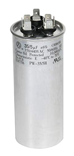 PowerWell 35 + 5 MFD uf 370 VAC or 440 Volt Dual Run Round Capacitor PW-35/5/R for Condenser Straight Cool or Heat Pump Air Conditioner 35/5 Micro Farad