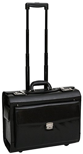 S Babila Top Grain Leather Wheeled Pilot Case Briefcase Flight Cabin Trolley