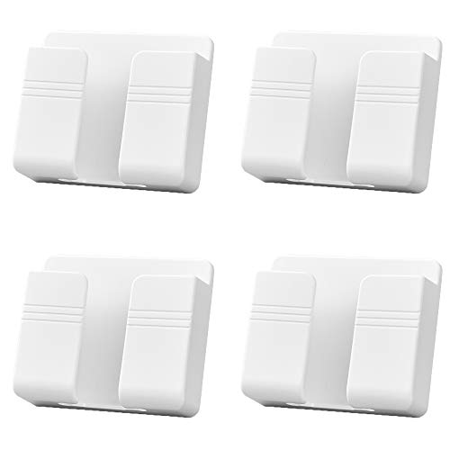 4PCS Wall Mount Phone Holder with Adhesive, Phone Charger Stand, Damage-Free Charging Dock, Remote Control Storage Box for Bedroom, Kitchen, Bathroom, Office and More