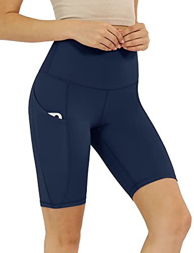 """ODODOS Women's 9"""" High Waisted Biker Shorts with Pockets, Tummy Control Non See Through Weokout Sports Athletic Running Yoga Shorts, Navy, X-Large"""