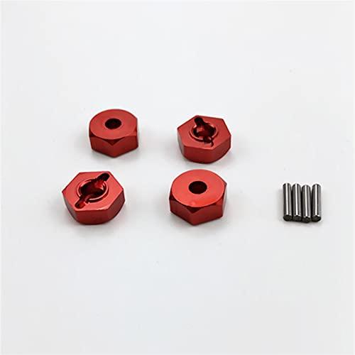 NIDUNO 4pcs 12 mm de Roue en Aluminium écrou Hexagonal avec Broches HUBS 4P HSP 102042 1/10 Pièces de Mise à Niveau pour Une Voiture RC 4WD (Couleur : Rouge)