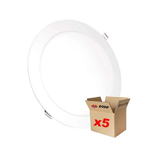 POPP® juegos de 5 y 10 unidad Downlight LED Placa LED redondo 6000K luz blanca [Clase de eficiencia energética A+] (6watios 6000K, 5 unidad)