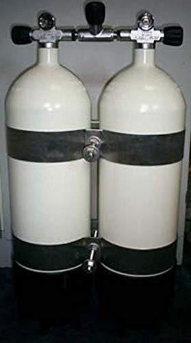 HTD Botellas de buceo dobles de 15 litros, 230 bares, con puente bloqueable, distancia de botellas de 215 m