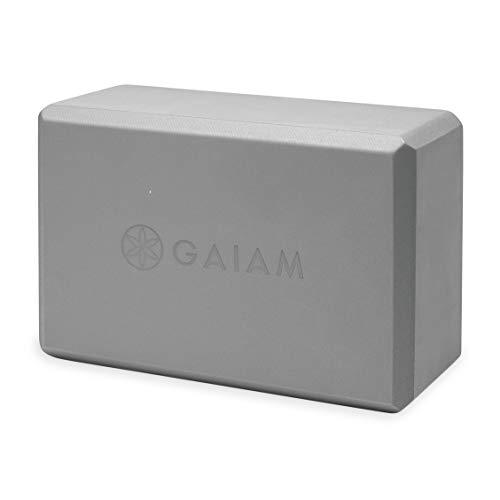 Gaiam Yoga Block - Supportive Latex-Free EVA Foam Soft Non-Slip Surface for Yoga, Pilates, Meditation, Storm Gray