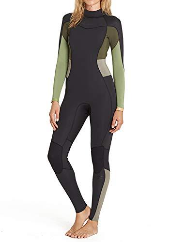 Billabong Synergy 4/3 mm wetsuit met ritssluiting achter groene thee met thermische voering - 4/3 mm wetsuit met ritssluiting achter
