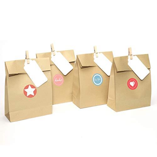 Plantvibes 24 Geschenktüten aus hochwertigem Kraftpapier inkl. Namenskarten & Holzklammern & Sticker, Papiertüten ideal für Hochzeit und Kinder-Geburtstag, Geschenk-Papier, Geschenk-verpackung