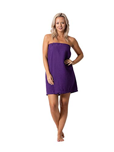 Women's Waffle Spa Body Wrap with Adjustable Closure (One, Purple, Size One Size