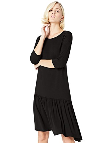 Amazon-Marke: find. Damen Oversized-T-Shirt mit rundem Ausschnitt, Schwarz (Black), 38, Label: M