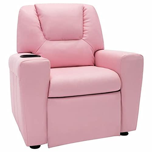 Ksodgun Sillón reclinable de Cuero Hogar Sillón Relax Butaca Ideal Gente Mayor sintético Rosa