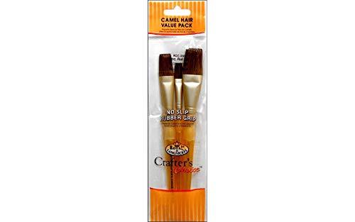 Royal Brush : 3Pc Set de pinceau plat poils de chameau