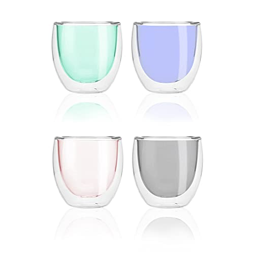 Colorful Double Walled Borosilicate Glass Coffee Tea Mugs Set of 4, (250mL, 8.5oz). Clear Drinkware Pink, Green, Blue, Grey. Use as Bowls and for Hot and Cold Beverages and Wine