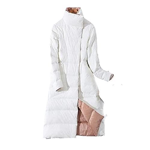 Damska dwustronna puchowa długa kurtka zimowa z golfem biały płaszcz z kaczego puchu dwurzędowe ciepłe parki Snow Outwear - biały, XXL, Federacja Rosyjska