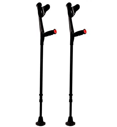 KMINA - Muletas adulto regulables aluminio, Muletas ortopédicas, Muletas ergonomicas, Muleta COMFORT Pack de 2 unidades color negro ✅