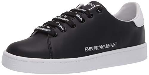 Emporio Armani Damen Flat Color Block Sneaker Turnschuh, schwarz/weiß, 42 EU