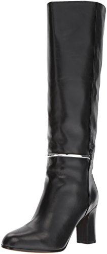 Via Spiga Damen Shaw Tall Boot Kniehoher Stiefel, schwarzes Leder, 36 EU