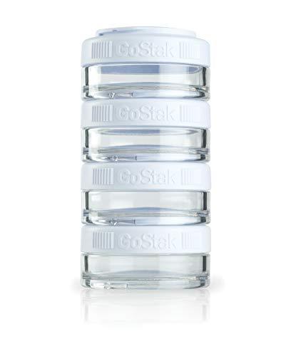 BlenderBottle GoStak Behälter zum Aufbewahren von Protein, Eiweiß, Pulver, Vitaminen und mehr- 4Pak 40ml (4x40ml), weiß