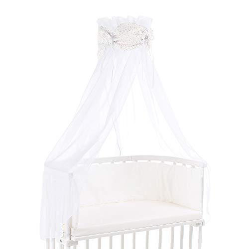 Ciel de lit babybay en coton bio avec nœud adapté aux modèles Original, Maxi, Boxspring, Comfort, Comfort Plus et Midi, blanc avec étoiles pailleté rosé