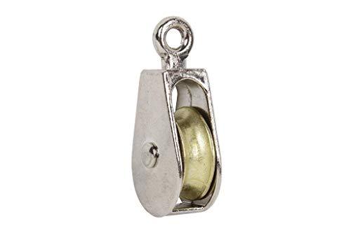 DOJA Industrial | Carrucole monoblocco in acciaio nichelato M20 | PACK 2 | Diametro: 20 mm | Puleggia piccola fisso | Capacità di carico di 120 kg.