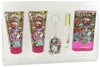 Ed Hardy Hearts & Daggers by Ed Hardy Gift Set -- 3.4 oz Eau De Parfum Spray + 3 oz Body Lotion + 3 oz Shower Gel + .34 oz Mini EDP + Key Chain (Women)