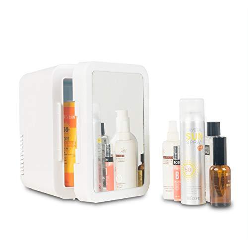 Mini Fridge Cheap 4 Liter Cooler Warmer Portable Beauty Makeup Skincare Fridge for Bedroom, Car, Dorm, Office and Travel (Mirror & LED Design)