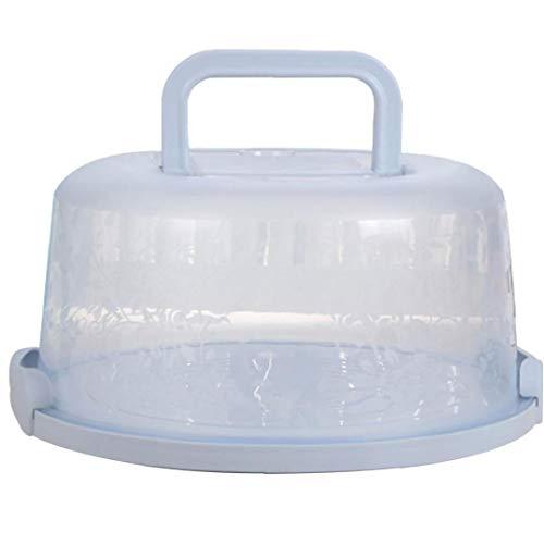 GGOOD Mango portátil de la Torta de la Caja de Transporte de contenedores Pie de Almacenamiento de la Magdalena de luz Azul Redondo Transporte Tapa del Clip de Bloqueo de contenedor de Cocina