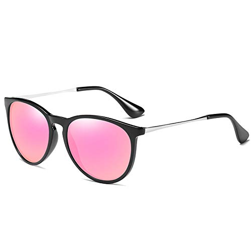 ZJMIYJ zonnebril, kat oog gepolariseerd paars spiegel zonnebril voor vrouwen schildpad retro ronde gespiegelde lens zonnebril vrouwelijke gouden rand