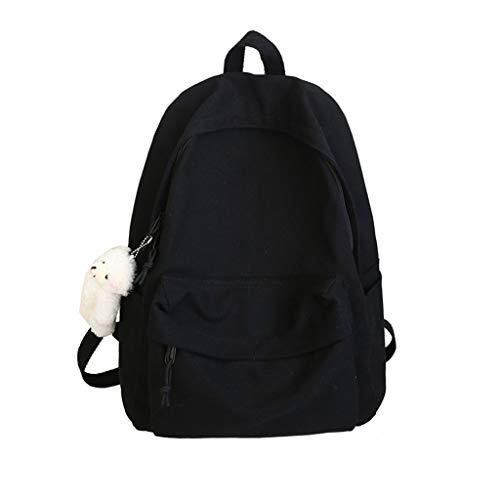 WDFVGEE Unisex Canvas Backpack Daypack Satchel Backpack School Travel Backpack Bookbag Solid Color Canvas Backpack with Bear Pendant