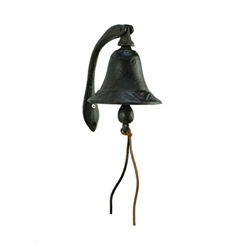 """CTW Home Collection Cast Iron Logan Dinner Bell With Bracket Dinner Bell - Feel The Vibe Of Traditional Family Meals And Gatherings. Made Of Heavy Cast Iron - Measures 4""""W X 5½""""D X 6""""T"""