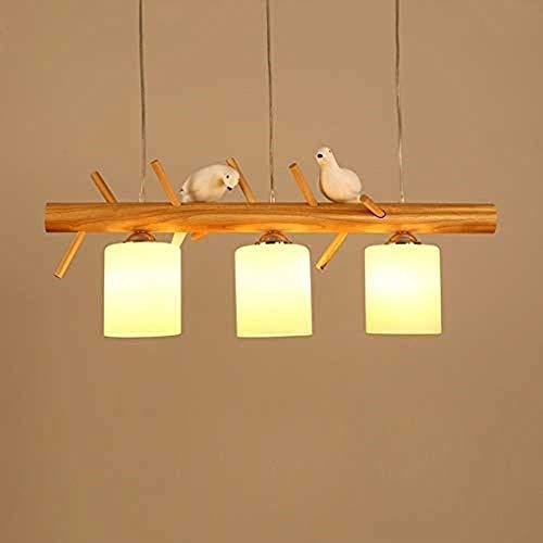 YZYZYZ Lámpara De Comedor Moderna De Estilo Escandinavo con Luz De Pájaro Iluminación De Comedor Estadounidense Lámpara De Comedor De Madera Maciza Creativa De Tres Cabezas Simple L80cm * H15cm, E27