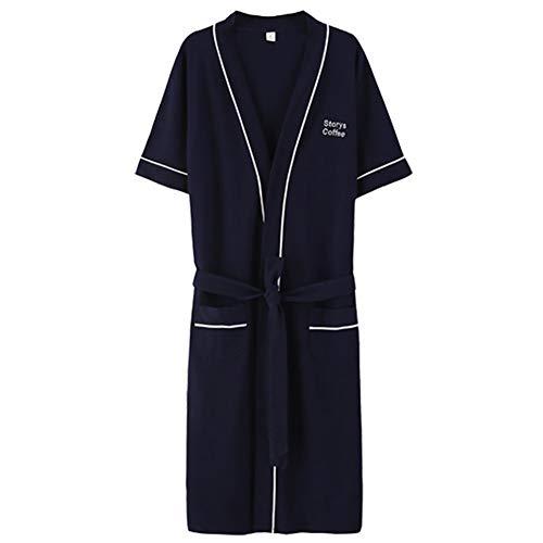 Robe, Herren-Sommernachthemd, Kurzarm-Bademantel, Bademantel Aus Baumwolle, Kimono, Nachthemd, Langer Schnitt, Dünne Schlafanzüge, L-XXXL (Farbe : Dark Blue, größe : XXL)