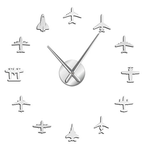 Fighter Reloj de Pared Grande DIY acrílico Efecto Espejo Pegatina avión silencioso Reloj de Pared Aviador decoración del hogar Color Plata 47 Pulgadas