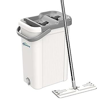 oshang Flat Floor Mop and Bucket Set for Home Floor Cleaning Hands Free Floor Flat Mop Stainless-Steel Handle 2 Washable & Reusable Microfiber Pads
